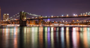 Brooklyn bridge at the night, New York City royalty free stock photos