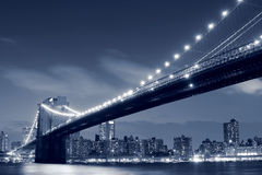 Brooklyn Bridge At Night, New York City royalty free stock images