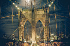 Brooklyn Bridge Night Royalty Free Stock Image