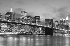 Brooklyn Bridge At Night, New York City Stock Photo