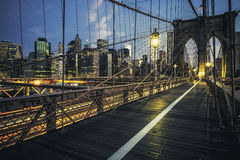 Brooklyn Bridge by night Royalty Free Stock Images