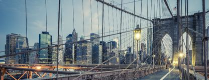 The Brooklyn Bridge by night Stock Photo