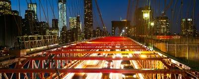 Brooklyn Bridge night traffic Royalty Free Stock Images