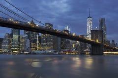 Brooklyn Bridge by night Stock Photos