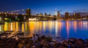 Brooklyn Bridge at Night. Night view of the New York Citys Brooklyn bridge and with  of lower Manhattan skyline.New York Royalty Free Stock Photography