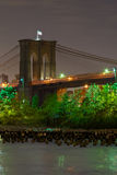 Brooklyn Bridge, Night. At night, view of the Brooklyn Bridge with the park in the foreground Stock Photography
