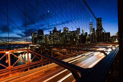 Brooklyn Bridge during Nighttime Royalty Free Stock Images
