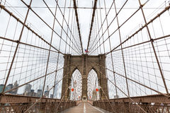 Brooklyn Bridge, nobody, New York City USA. Suspension predestant Brooklyn Bridge, nobody, New York City USA stock photography