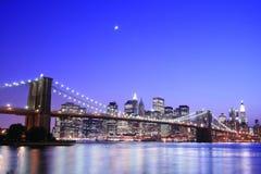 Brooklyn bridge noc Obrazy Royalty Free