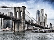 Brooklyn Bridge, NY with Manhattan skyline Stock Photography