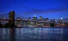 Brooklyn Bridge and NYC. At dusk Royalty Free Stock Images