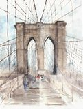 Brooklyn bridge NYC architecture landmark touristic place vacation destination watercolor illustration painting. People strolling Stock Photo