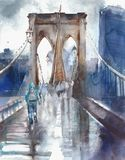 Brooklyn bridge NYC architecture landmark touristic place vacation destination watercolor illustration painting Stock Images
