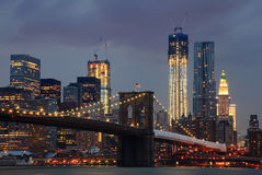 Brooklyn Bridge and NYC Skyline at Night Stock Images