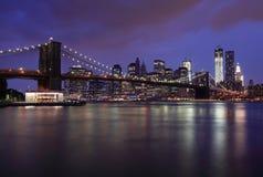 Brooklyn Bridge and NYC Skyline at Night Royalty Free Stock Image
