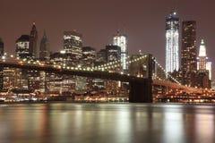 Brooklyn Bridge and NYC Skyline at Night Stock Image