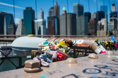 Brooklyn Bridge, One World Trade Center and Financial District: Summer in Manhattan. USA royalty free stock photos