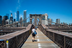 Brooklyn Bridge, One World Trade Center and Financial District: Summer in Manhattan. USA royalty free stock photo
