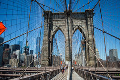 Brooklyn Bridge, One World Trade Center and Financial District: Summer in Manhattan Stock Photo