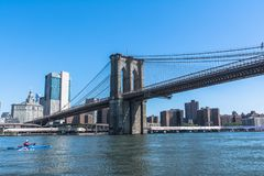 Brooklyn Bridge over the East River, Manhattan, NYC. View of the Brooklyn Bridge from the East River, Manhattan, NYC royalty free stock photos