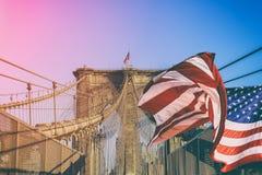Brooklyn Bridge over East River, New York City, NY, USA Royalty Free Stock Image