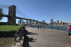 Brooklyn bridge over the East River in New York Stock Photos