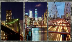 Brooklyn Bridge over East River at night in New York City photo collage from different picture Manhattan with lights and reflectio. Brooklyn Bridge over East stock images