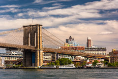The Brooklyn Bridge, over the East River, seen from Pier 15, Man Stock Image