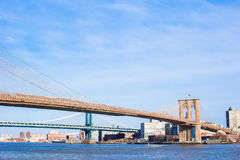Brooklyn Bridge over East River viewed from New York City Stock Photos