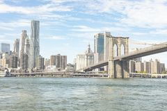 Brooklyn Bridge Over Lower Manhattan New York City stock images
