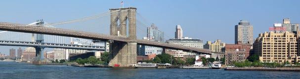 Brooklyn Bridge panorama. Brooklyn Bridge connects Manhattan and Brooklyn royalty free stock image