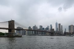 Brooklyn Bridge Panorama from the East River Royalty Free Stock Photos