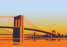 Brooklyn Bridge panorama in the morning sunrise New York City. Brooklyn Bridge panorama in the morning sunrise over East River in New York City Royalty Free Stock Image