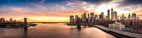 Brooklyn Bridge panorama at sunset Stock Image