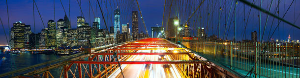 Brooklyn Bridge panorama with traffic Stock Photos