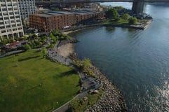 Brooklyn Bridge Park and Empire Fulton Landing royalty free stock photo