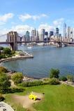 Brooklyn Bridge. Brooklyn Bridge Park, Brooklyn Bridge and Lower Manhattan - view from Manhattan Bridge Royalty Free Stock Image