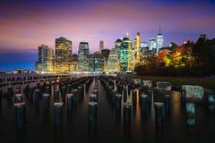 Brooklyn Bridge Park. Manhattan Skyline from Brooklyn Bridge Park, NYC USA royalty free stock image