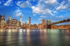 Brooklyn Bridge Park, New York City. Spectacular sunset view of Royalty Free Stock Photo