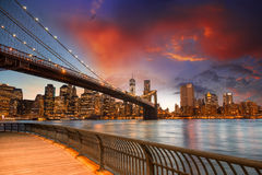 Brooklyn Bridge Park, New York City. Spectacular sunset view of Royalty Free Stock Images
