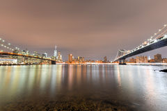 Brooklyn Bridge Park at night Stock Photo