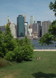 Brooklyn Bridge Park Sunbather New York USA Royalty Free Stock Photos
