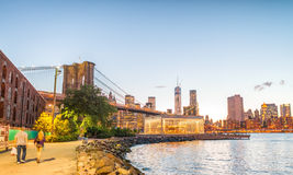 Brooklyn Bridge Park promenade at sunset, New York City Royalty Free Stock Photo