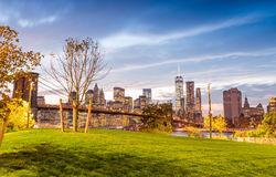 Brooklyn Bridge Park at twilight with Manhattan skyline on backg. Round Stock Images