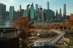 Brooklyn Bridge Park Manhattan View, and the Squibb Park Bridge, NYC USA Stock Photography