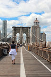 Brooklyn Bridge Pedestrian Walkway Royalty Free Stock Photos