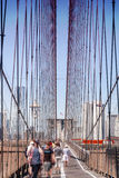 Brooklyn Bridge - people going to Manhattan royalty free stock photography