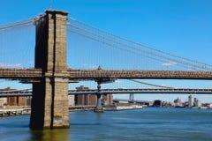 Brooklyn bridge. The Brooklyn bridge, a photo from pier 17 in New York Stock Photo
