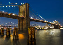 Brooklyn Bridge. Photo taken of Brooklyn Bridge at around 9.30 pm royalty free stock image