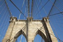 Brooklyn Bridge pillar. Horizontally. Stock Photo